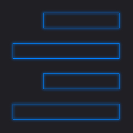 align: A Neon Icon Isolated on a Black Background - Right Align