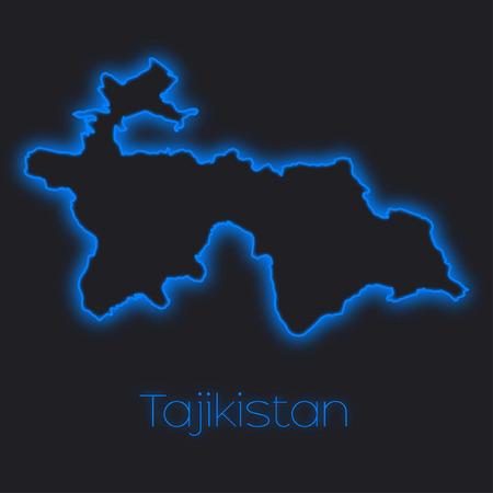 tajikistan: A Neon outline of Tajikistan