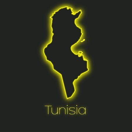 tunisia: A Neon outline of Tunisia