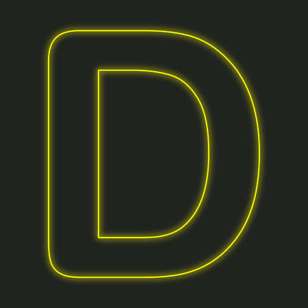 d: A Neon Icon Isolated on a Black Background - D Stock Photo
