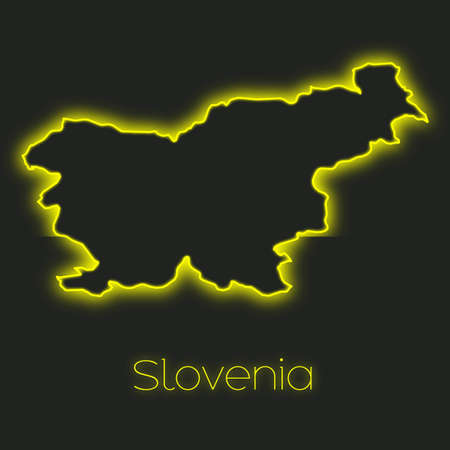 slovenia: A Neon outline of Slovenia