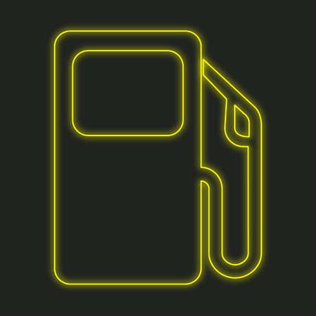 surtidor de gasolina: A Neon Icon Isolated on a Black Background - Petrol Pump