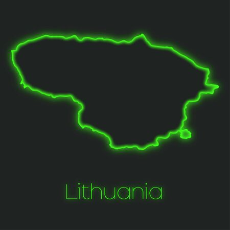 lithuania: A Neon outline of Lithuania Stock Photo