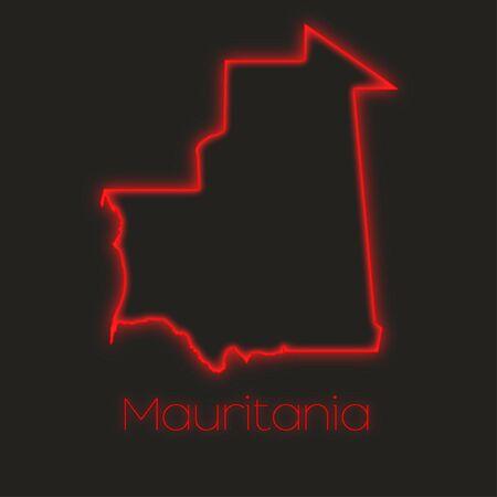 mauritania: A Neon outline of Mauritania Stock Photo