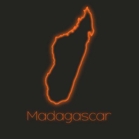 madagascar: A Neon outline of Madagascar