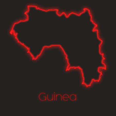 guinea: A Neon outline of Guinea
