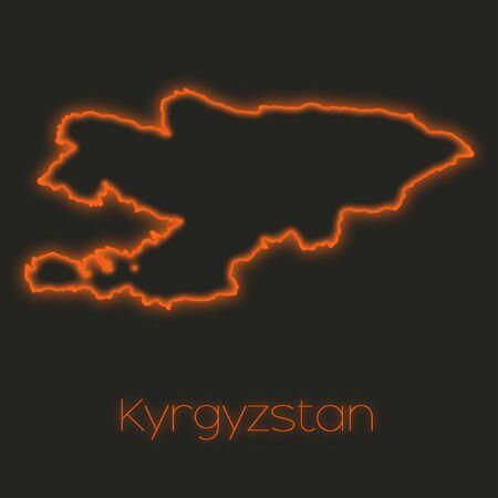 kyrgyzstan: Un esquema de neón de Kirguistán