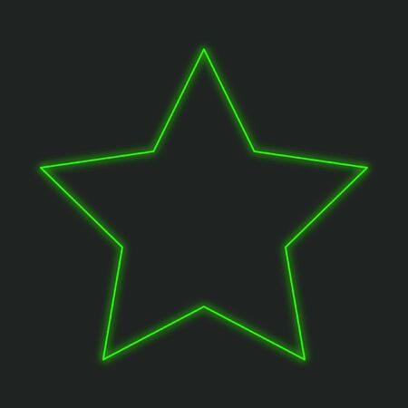 pointed to: A Neon Icon Isolated on a Black Background - 5 Pointed Star Stock Photo