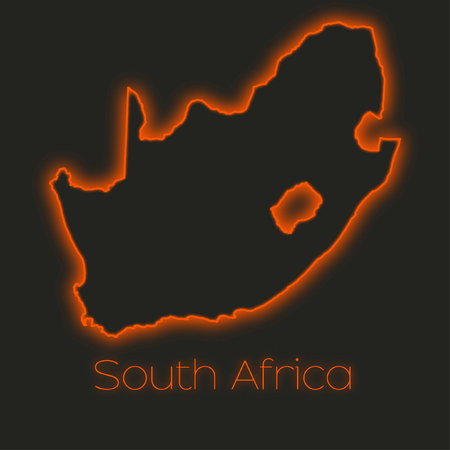 africa outline: A Neon outline of South Africa Stock Photo