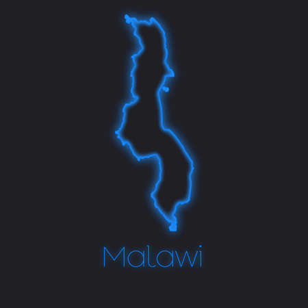 malawi: A Neon outline of Malawi