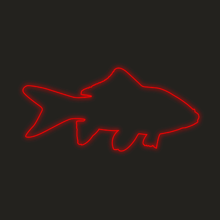 neon fish: A Neon Icon Isolated on a Black Background - Goldfish