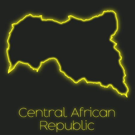 central african republic: A Neon outline of Central African Republic
