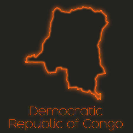 democratic: A Neon outline of Democratic Republic of Congo Stock Photo