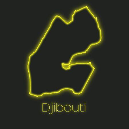 djibouti: A Neon outline of Djibouti