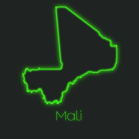mali: A Neon outline of Mali Stock Photo