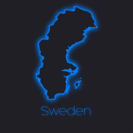 sweden: A Neon outline of Sweden