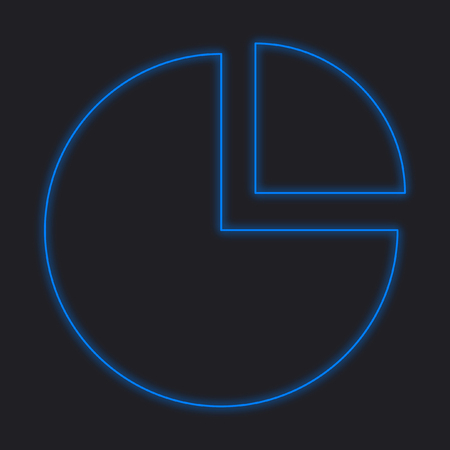 exploded: A Neon Icon Isolated on a Black Background - Pie Chart Exploded