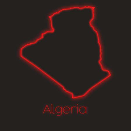 algeria: A Neon outline of Algeria