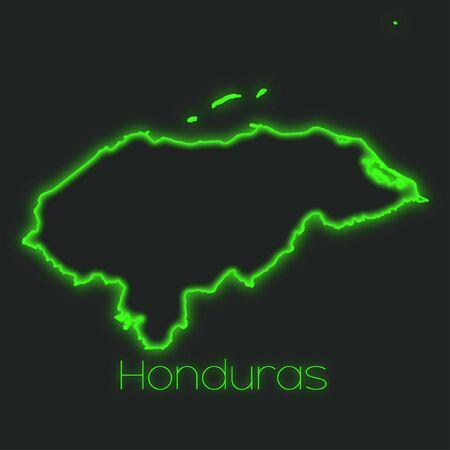 honduras: A Neon outline of Honduras Stock Photo