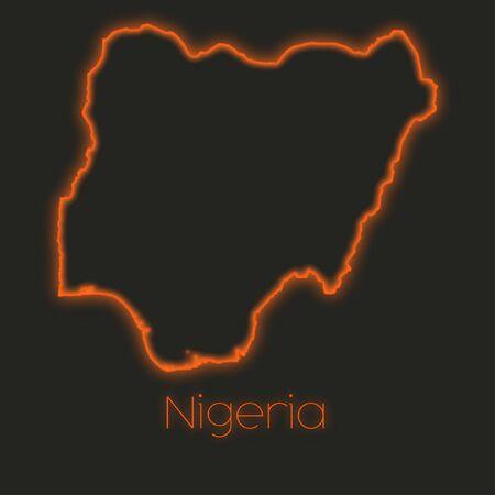 nigeria: A Neon outline of Nigeria Stock Photo