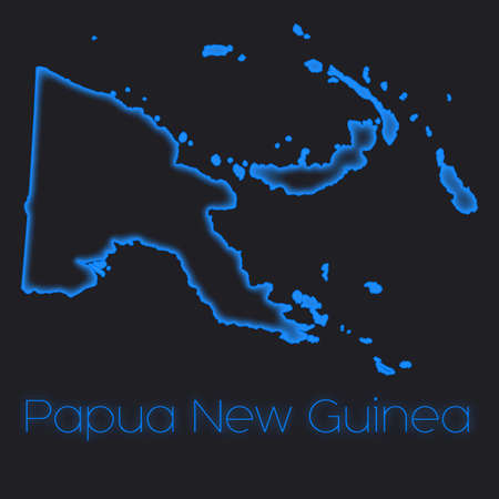 guinea: A Neon outline of Papua New Guinea