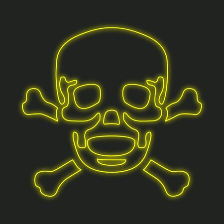 cross bones: A Neon Icon Isolated on a Black Background - Skull and Cross Bones