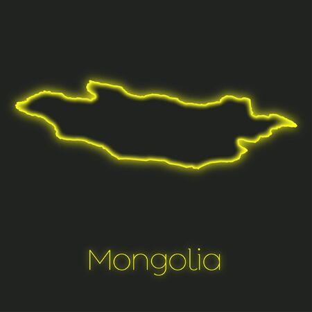 mongolia: A Neon outline of Mongolia
