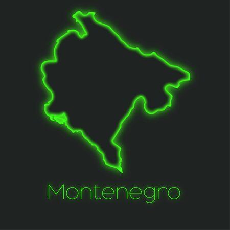 montenegro: A Neon outline of Montenegro