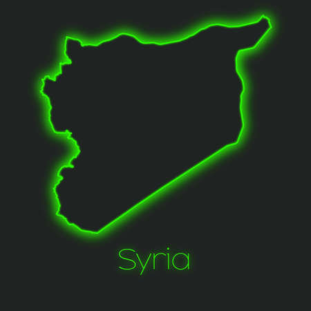 syria: A Neon outline of Syria