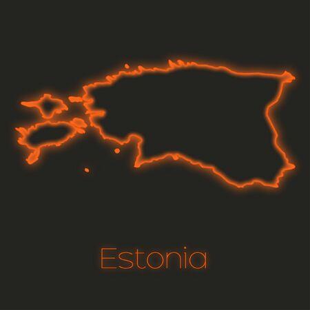 estonia: A Neon outline of Estonia