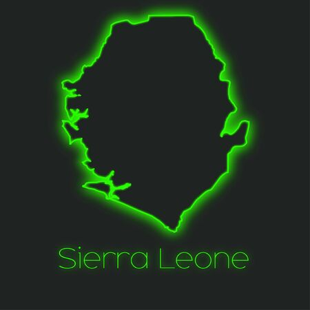 sierra: A Neon outline of Sierra Leone