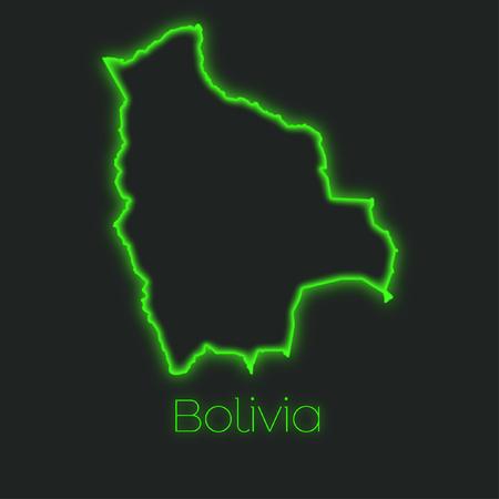 bolivia: A Neon outline of Bolivia Stock Photo