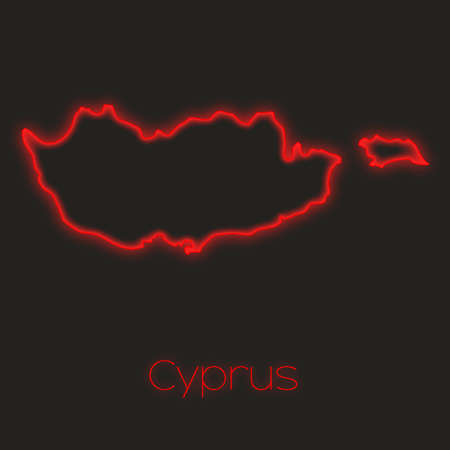 cyprus: A Neon outline of Cyprus
