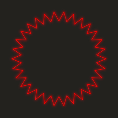 spikey: A Neon Icon Isolated on a Black Background - Spikey Circle