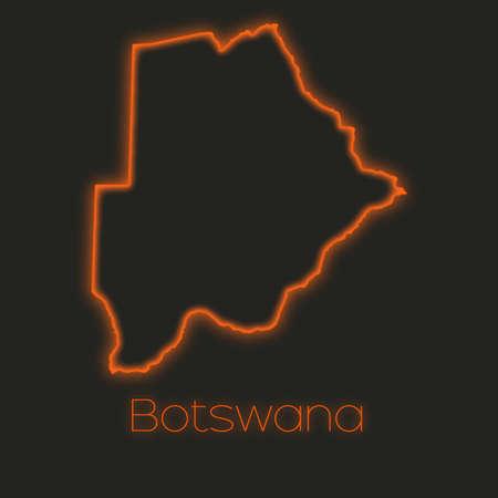 botswana: A Neon outline of Botswana