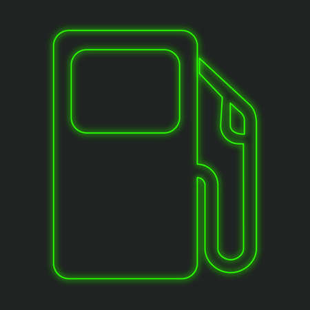 petrol pump: A Neon Icon Isolated on a Black Background - Petrol Pump