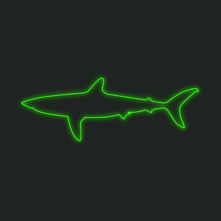neon fish: A Neon Icon Isolated on a Black Background - Shark Stock Photo