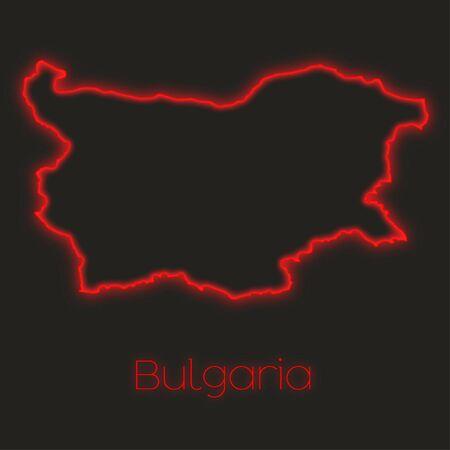 bulgaria: A Neon outline of Bulgaria Stock Photo