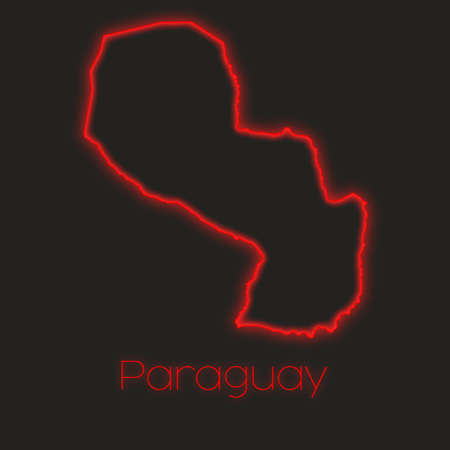 paraguay: A Neon outline of Paraguay