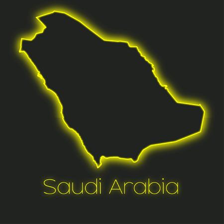arabia: A Neon outline of Saudi Arabia