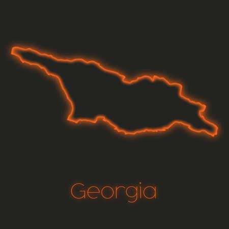 georgia: A Neon outline of Georgia Stock Photo