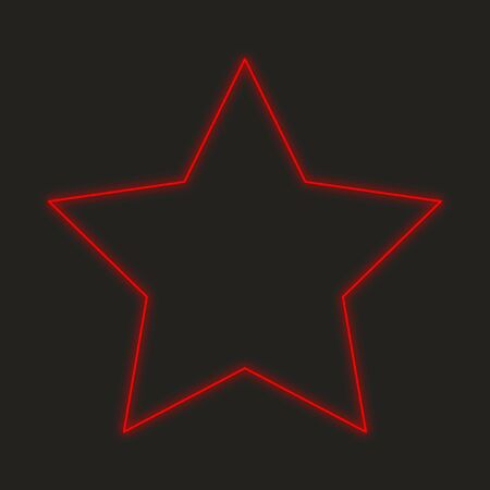 five pointed: A Neon Icon Isolated on a Black Background - 5 Pointed Star Stock Photo