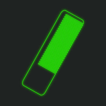 hairbrush: A Neon Icon Isolated on a Black Background - Hairbrush