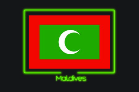 A Flag Illustration With a Neon Outline of Maldives Stock Photo