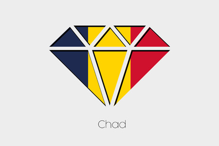 chad: A Flag Illustration inside a Diamond of Chad Stock Photo