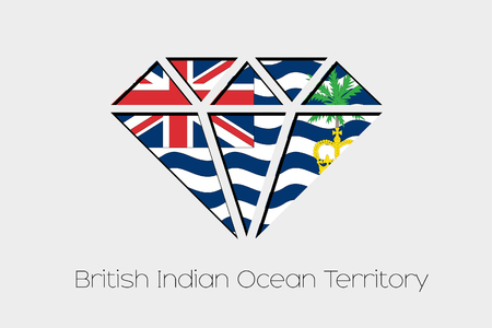 british culture: A Flag Illustration inside a Diamond of British Indian Ocean Territory Stock Photo