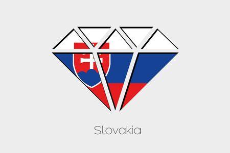 design media love: A Flag Illustration inside a Diamond of Slovakia Stock Photo