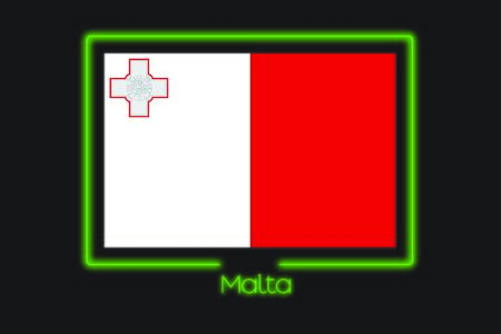 malta: A Flag Illustration With a Neon Outline of Malta