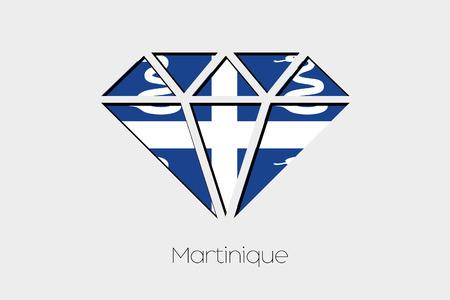 martinique: A Flag Illustration inside a Diamond of Martinique Stock Photo