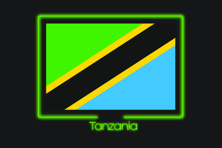 tanzania: A Flag Illustration With a Neon Outline of Tanzania